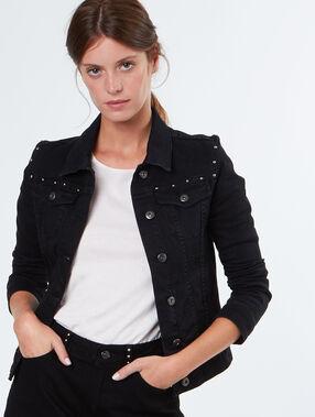 Veste en coton à petits clous noir.