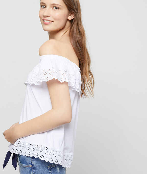 Top bustier à broderie anglaise