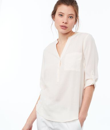 Blouse col tunisien nude.