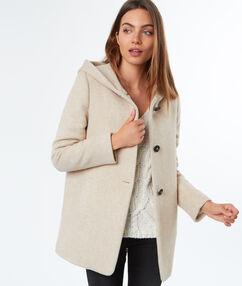 Manteau 3/4 à capuche en laine mélangée beige.