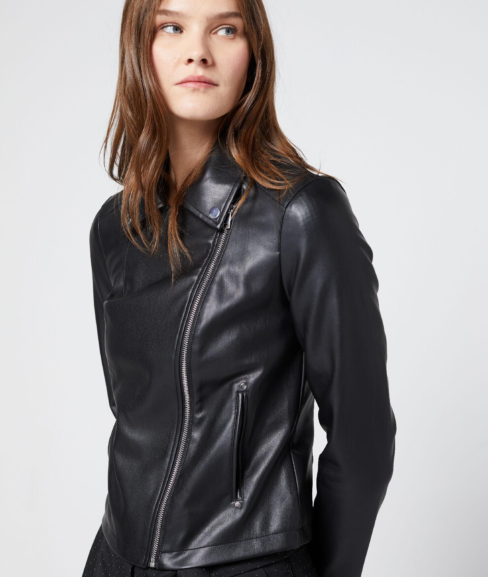 promotion spéciale magasiner pour le meilleur mode la plus désirable Biker Noir Effet Cuir Livi Blouson Etam eDH29WEIY