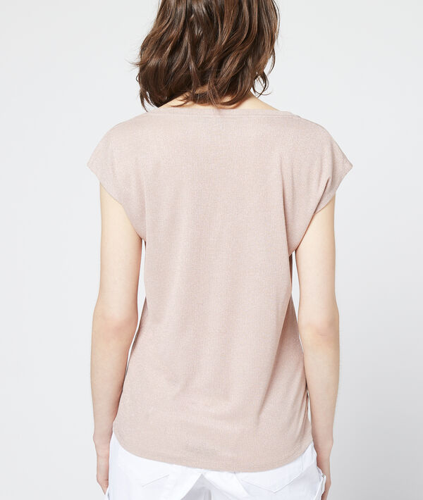 T-shirt métallisé à col v