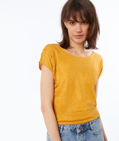 T-shirt en lin irisé ocre.
