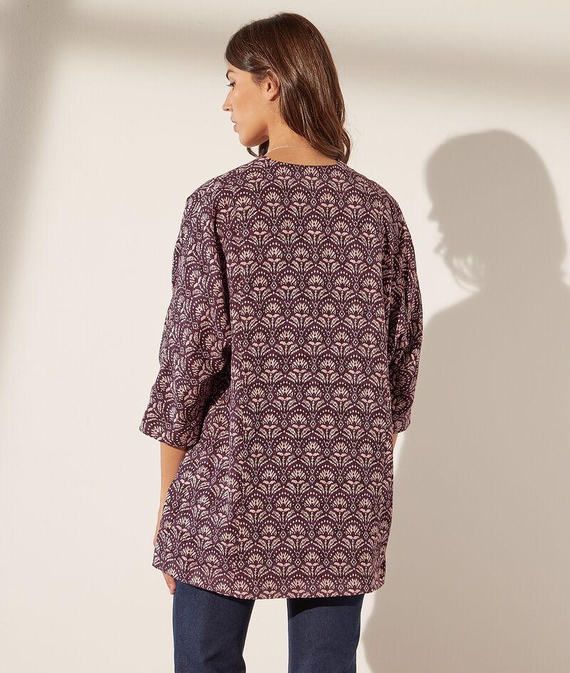 Veste kimono imprimée en coton
