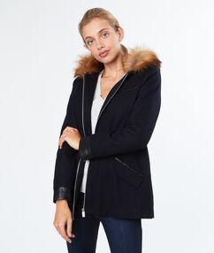 Manteau en laine à capuche fausse fourrure bleu marine.