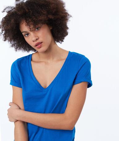 T-shirt col v en coton bleu.
