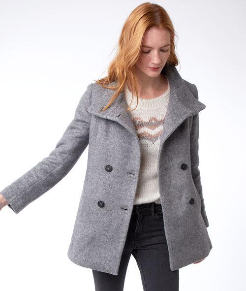 Manteau trois-quarts col boutonné