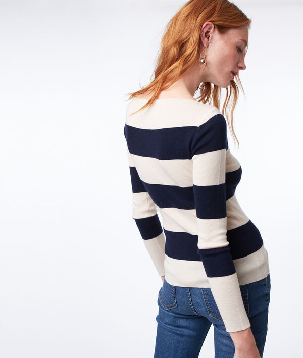 Pull à rayures en maille fine