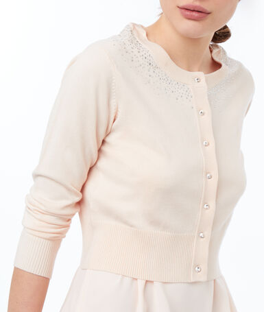 Gilet col rond nude.