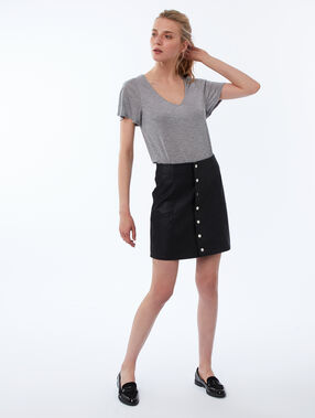T-shirt col v en tencel® gris clair.