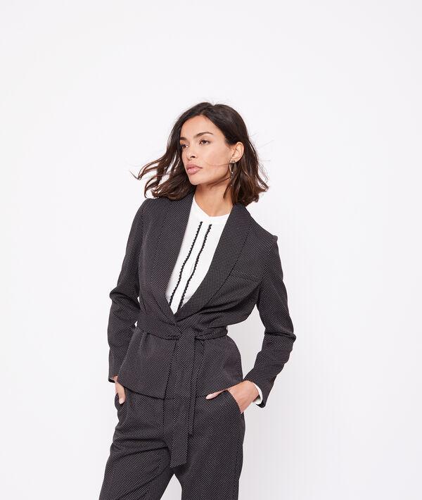 Veste de tailleur ceinturée motifs jacquard