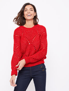 Pull grosse maille rouge.