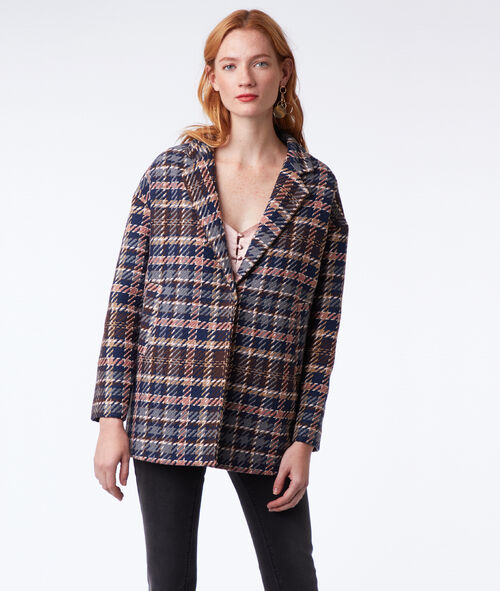 Manteau 3/4 à carreaux