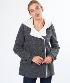 Manteau court en laine mélangée avec col en fausse fourrure gris anthracite.