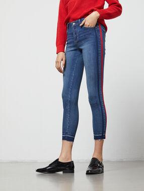 Jean skinny à bandes latérales stone.