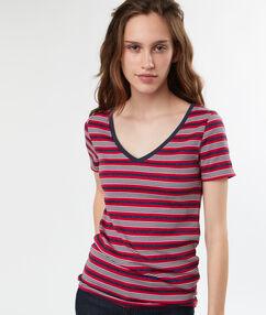 T-shirt col v rayures multicolores bleu marine.
