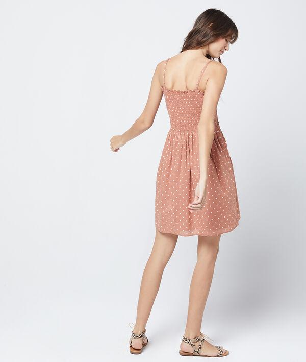 Robe bustier froncée à pois 100% coton