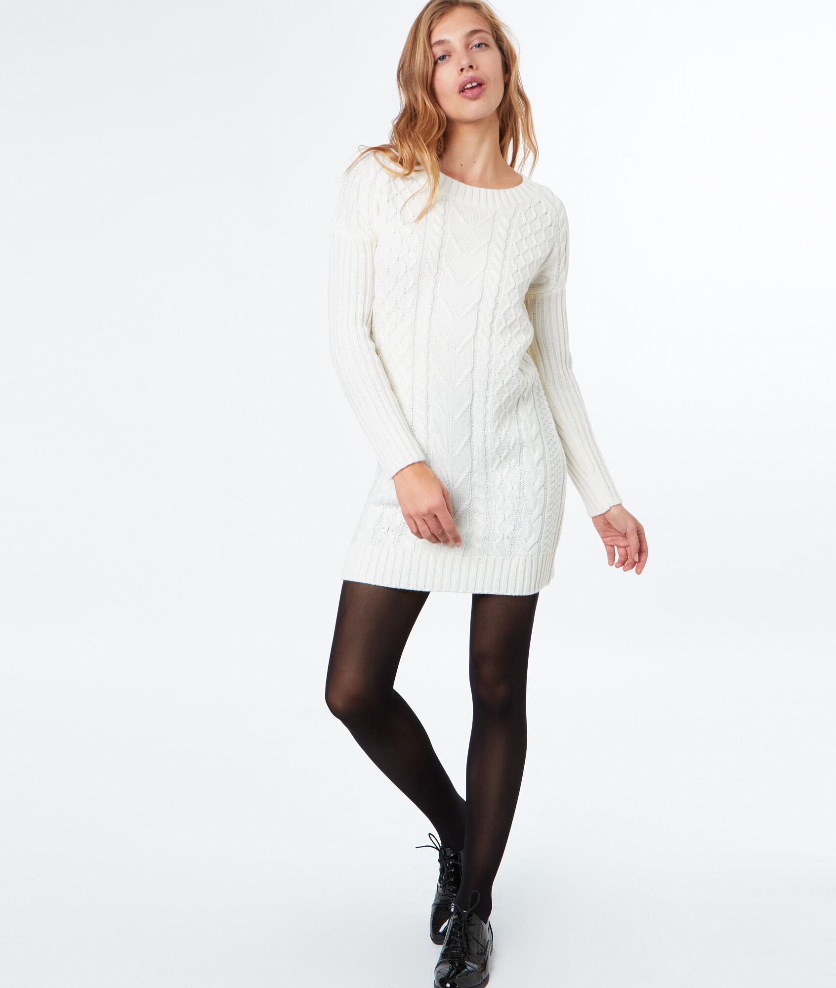 Robe laine blanc casse