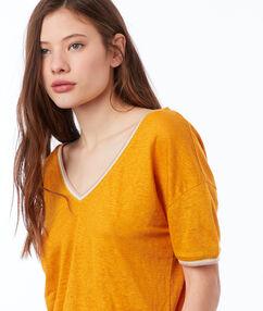 T-shirt en lin col v ocre.