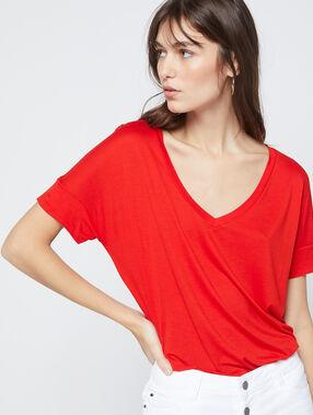 T-shirt uni col v coquelicot.