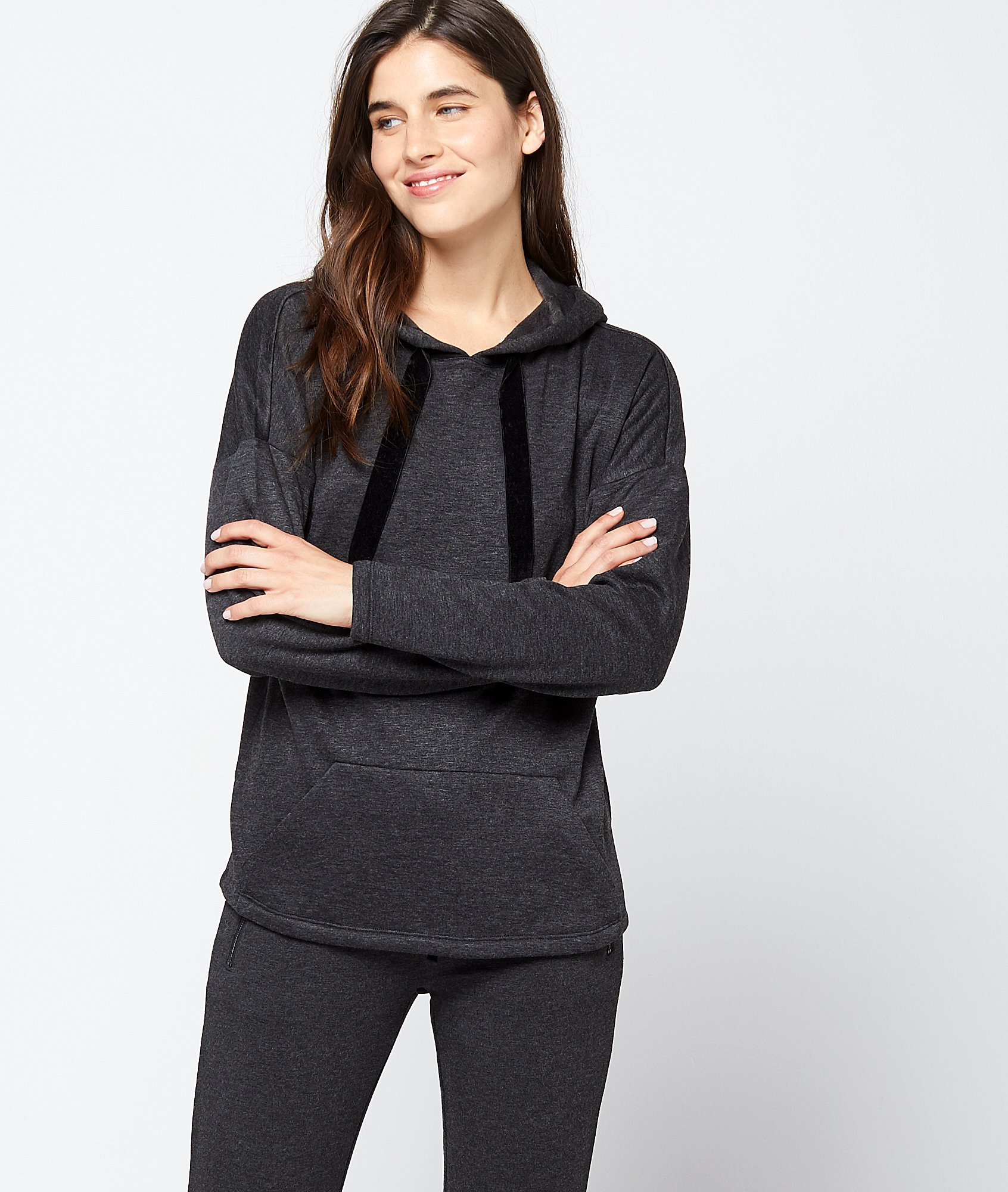Sweat homewear à capuche liens velours VISCOSE MIX ETAM